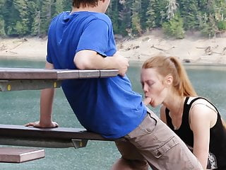 Redhead Faith Hatch - Public sex and bj at the lake